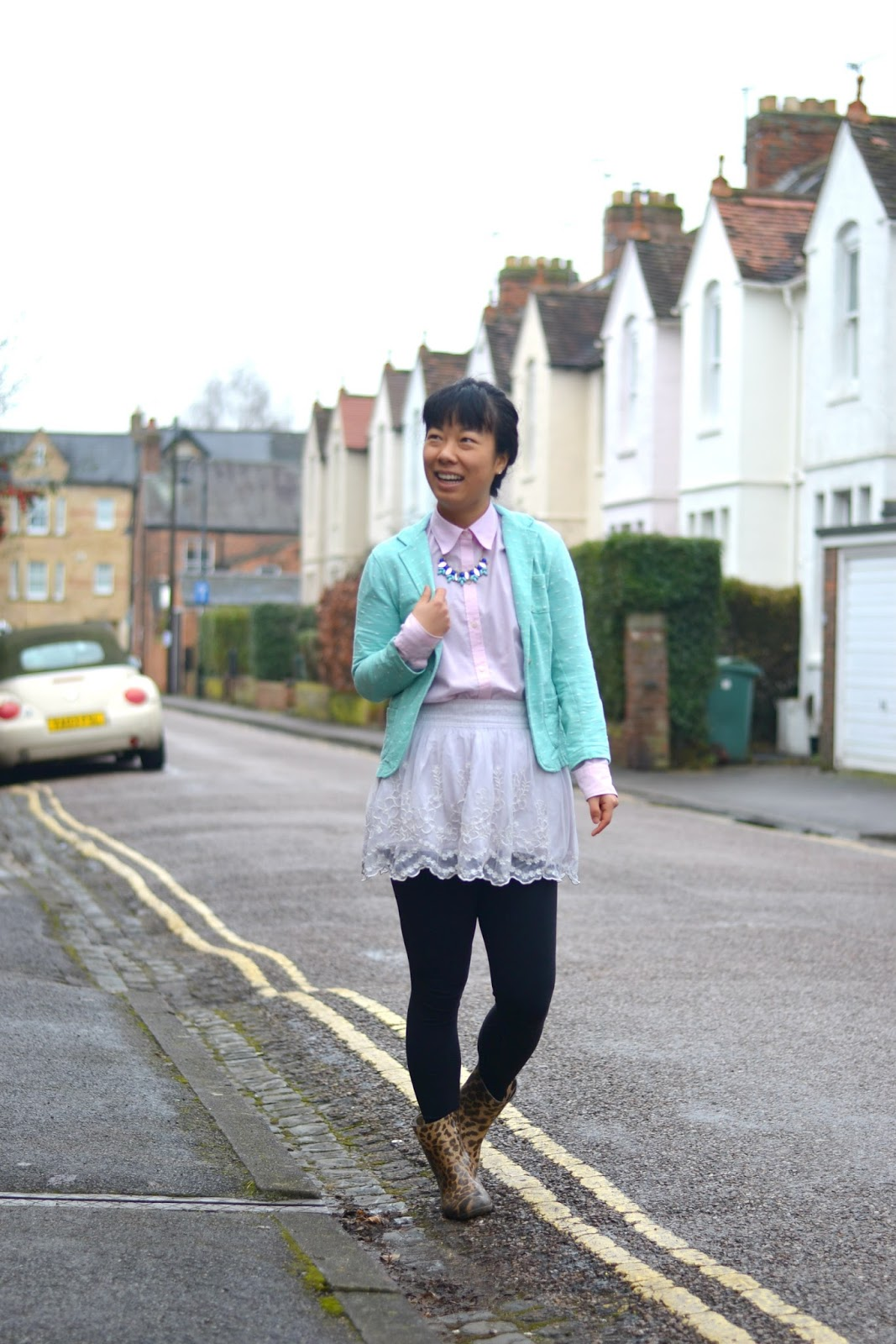 mint and pink outift