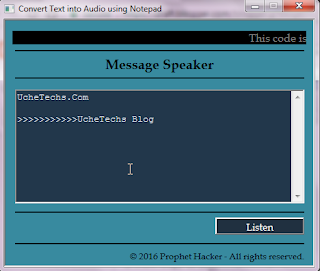 Notepad Code text to speech