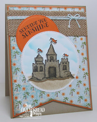 ODBD Sending You Sunshine, ODBD Custom Sandcastle Die, ODBD Custom Pierced Rectangles Dies, ODBD Custom Pierced Circles Dies, ODBD By The Shore Paper Collection, Card Designer Angie Crockett