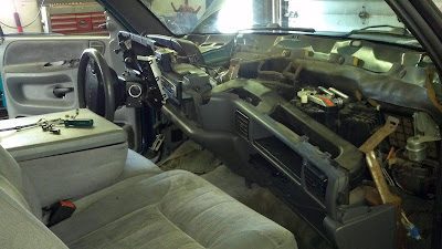 removing the dashboard of a dodge truck, guide, steps, radiator