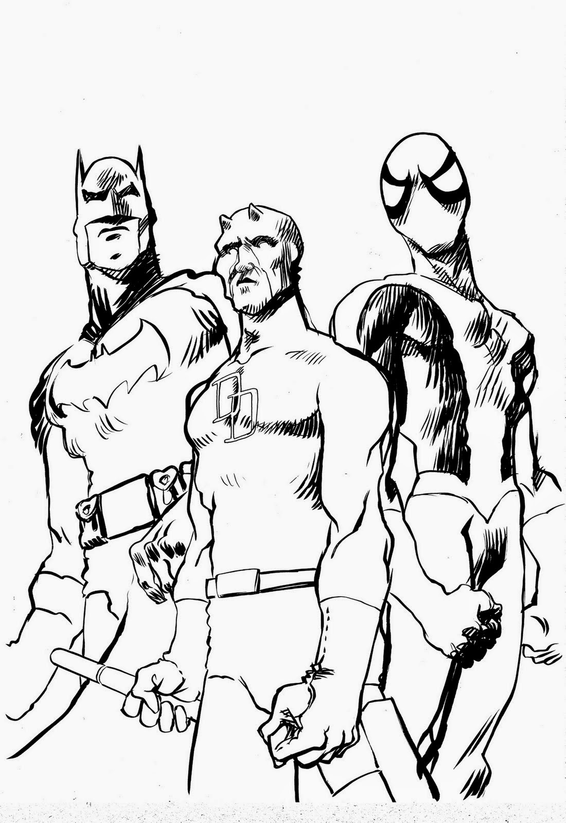 Coloriage Spiderman Et Batman | Coloriage en Ligne