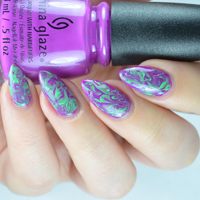 purple green nail art