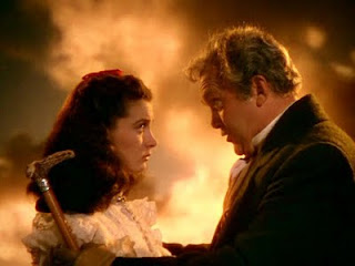 Gerald O'Hara (played by Thomas Mitchell) explains his daughter Scarlet O'Hara (played by Vivien Leigh) about importance of their land of Tara, Gone with the Wind, Directed by Victor Fleming