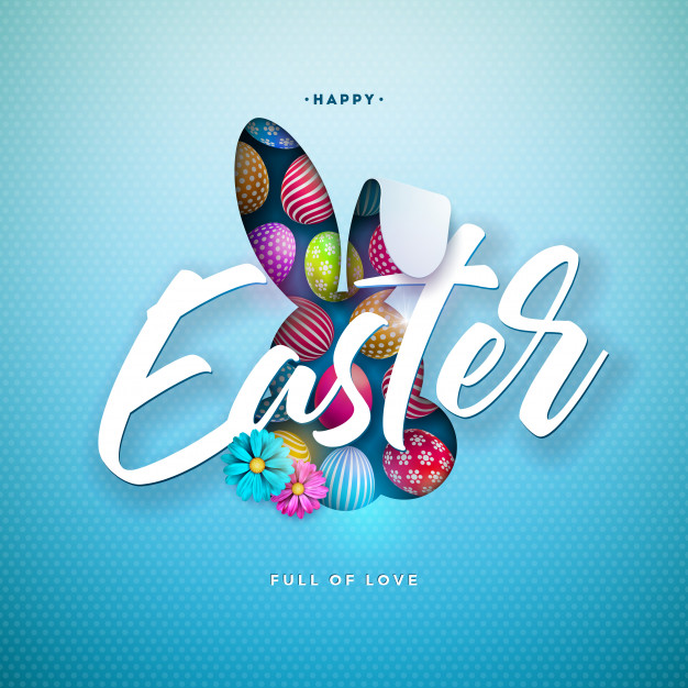 Happy easter illustration with colorful painted egg and rabbit ears Free Vector