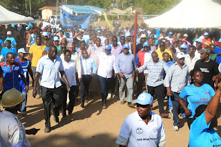 Wiper leaders walking at Karisa Maitha ground in Kilifi for rally. PHOTO | George Charo