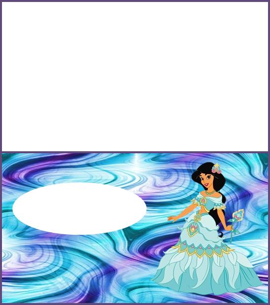 Para hacer invitaciones, tarjetas, o etiquetas, para imprimir gratis de Jazmine Vestida de Princesa.