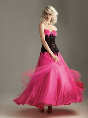 Celebrity Gossip Pink And Black Prom Dress