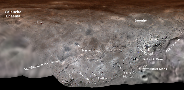 Map projection of Charon, the largest of Pluto's five moons, annotated with its first set of official feature names. With a diameter of about 755 miles, the Texas-sized moon is one of largest known objects in the Kuiper Belt, the region of icy, rocky bodies beyond Neptune. (Credit: NASA/Johns Hopkins University Applied Physics Laboratory/Southwest Research Institute)