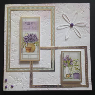 Hope you have a lovely day - Flowers in vase - white embossed 148mm square card