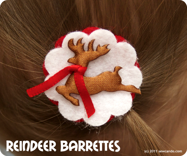 photo reindeer barrettes