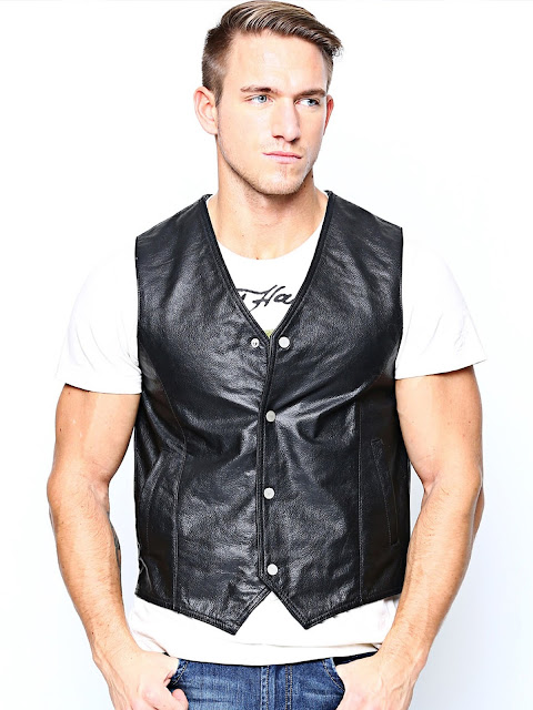 BARESKIN BLACK LEATHER SLEEVELESS BIKER JACKETS
