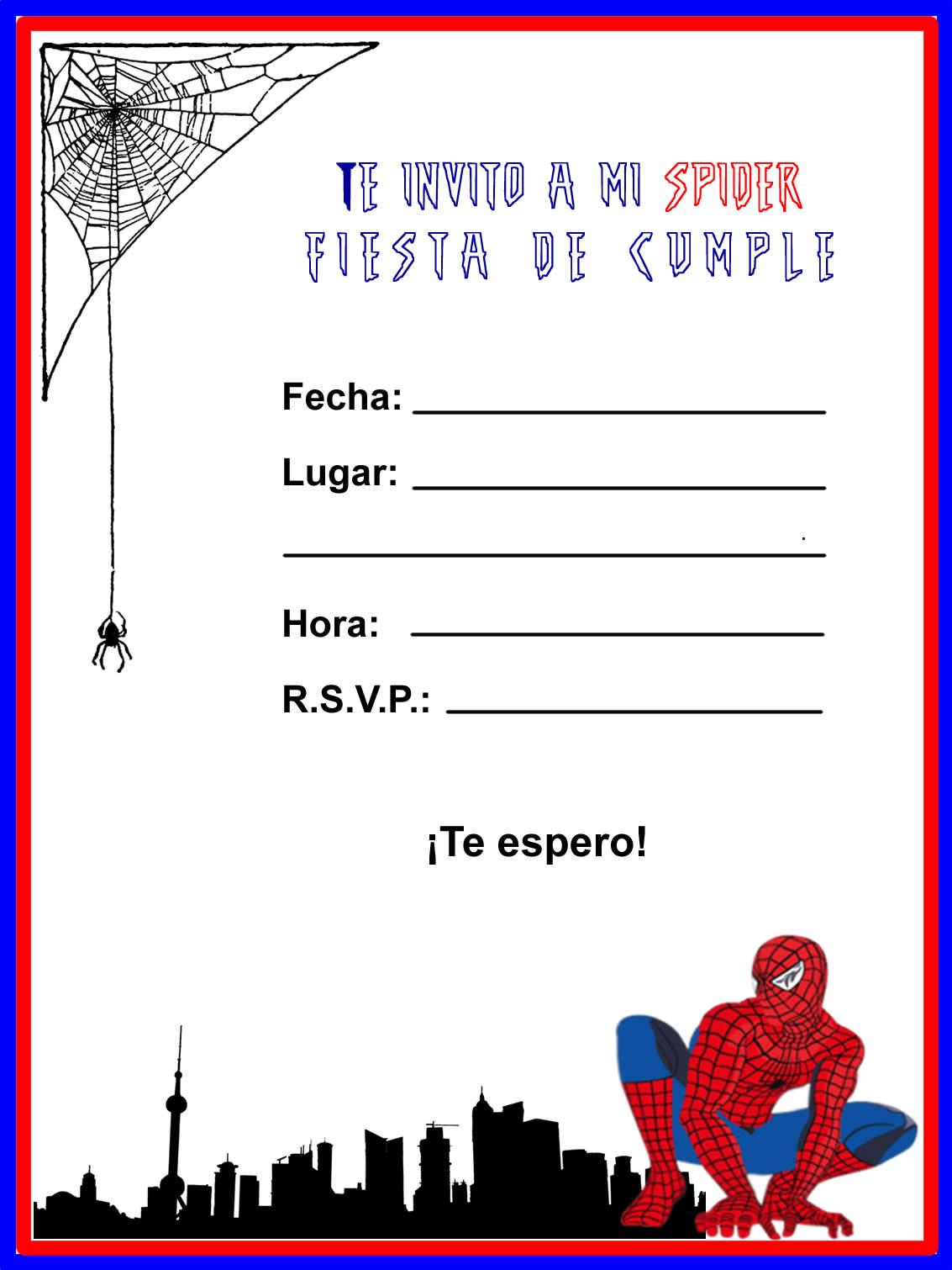 Invitaciónes De Cumpleaños Del Hombre Araña Para Imprimir