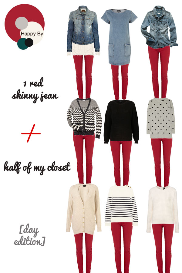 Another way to wear your red skinny jeans is to pair it with a black jacket. Red is a good match with black. Hence, pairing red jeans with a black jacket and a black T shirt underneath the jacket would give your look a magazine model look.