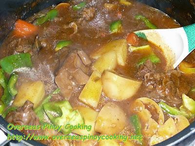 Kalderetang Baka - Cooking Procedure