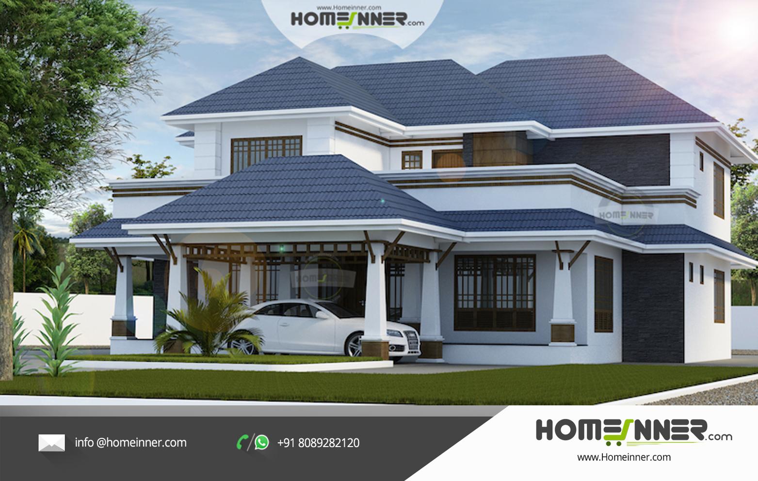 Attractive 3340 sqft 5 Bhk Luxury Traditional Kerala Villa Design