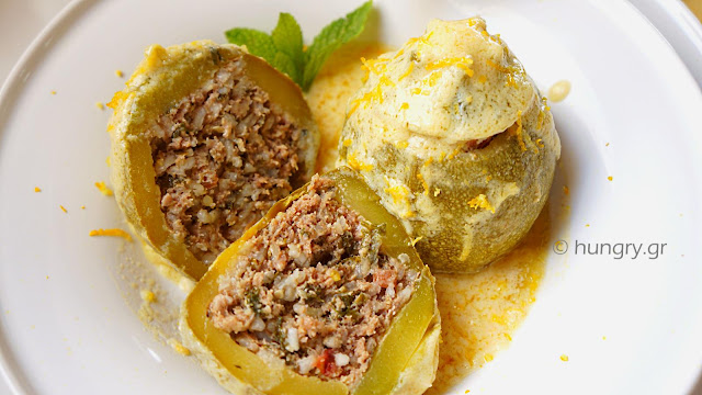 Stuffed Zucchini with Egg & Lemon Sauce