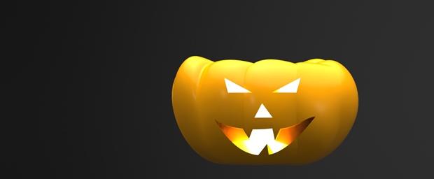 vista de frente de una calabaza de halloween diseñada en solidworks