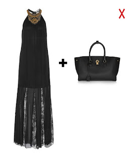 Сочетание вечернего платья и повседневной объемной сумки