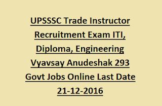 UPSSSC Trade Instructor Recruitment Exam ITI, Diploma, Engineering Vyavsay Anudeshak 293 Govt Jobs Online Last Date 21-12-2016