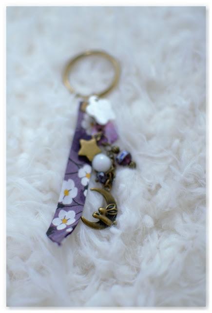porte-clef féerique lapin et lune