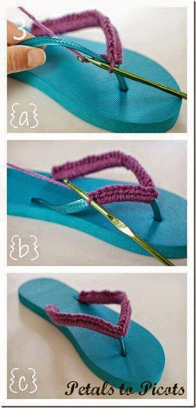 Idea: Reviste tus ojotas con crochet