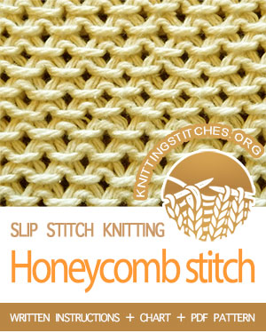 Honeycomb stitch also known as Stamen stitch, Chinese Wave stitch. Goes really quickly due to all the slipped stitches.