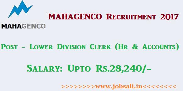 MAHAGENCO Lower Division Clerk Recruitment 2017, MAHAGENCO Clerk jobs, MAHAGENCO Careers