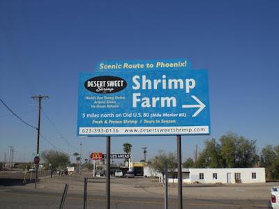 Desert Sweet Shrimp billboard sign