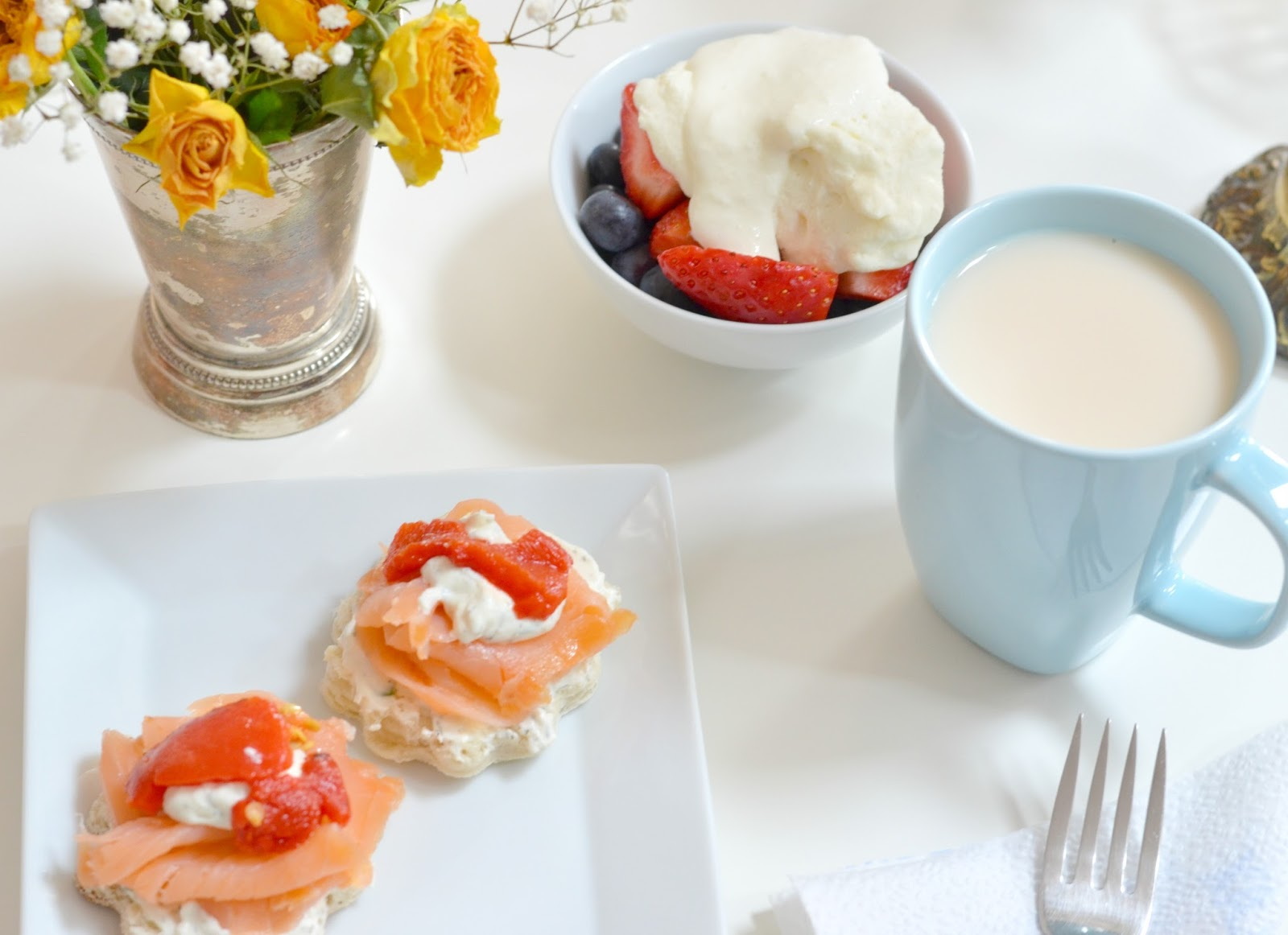 Colorful Healthy Salmon Breakfast Bites + Fruits + Tea