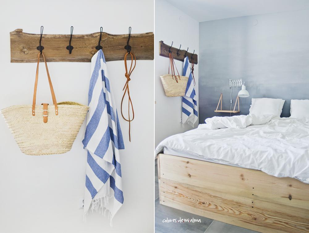 wood bed diy, wieszak, stare drewno , ombre wall