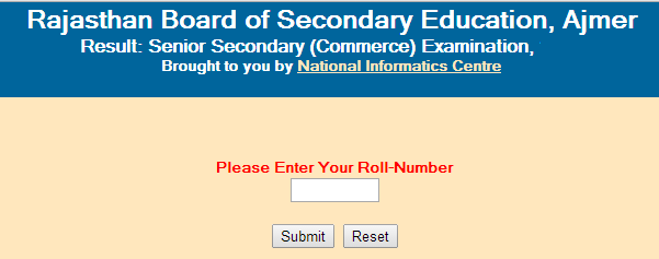 Rajasthan Senior Secondary/12th (Commerce) 2015 Result