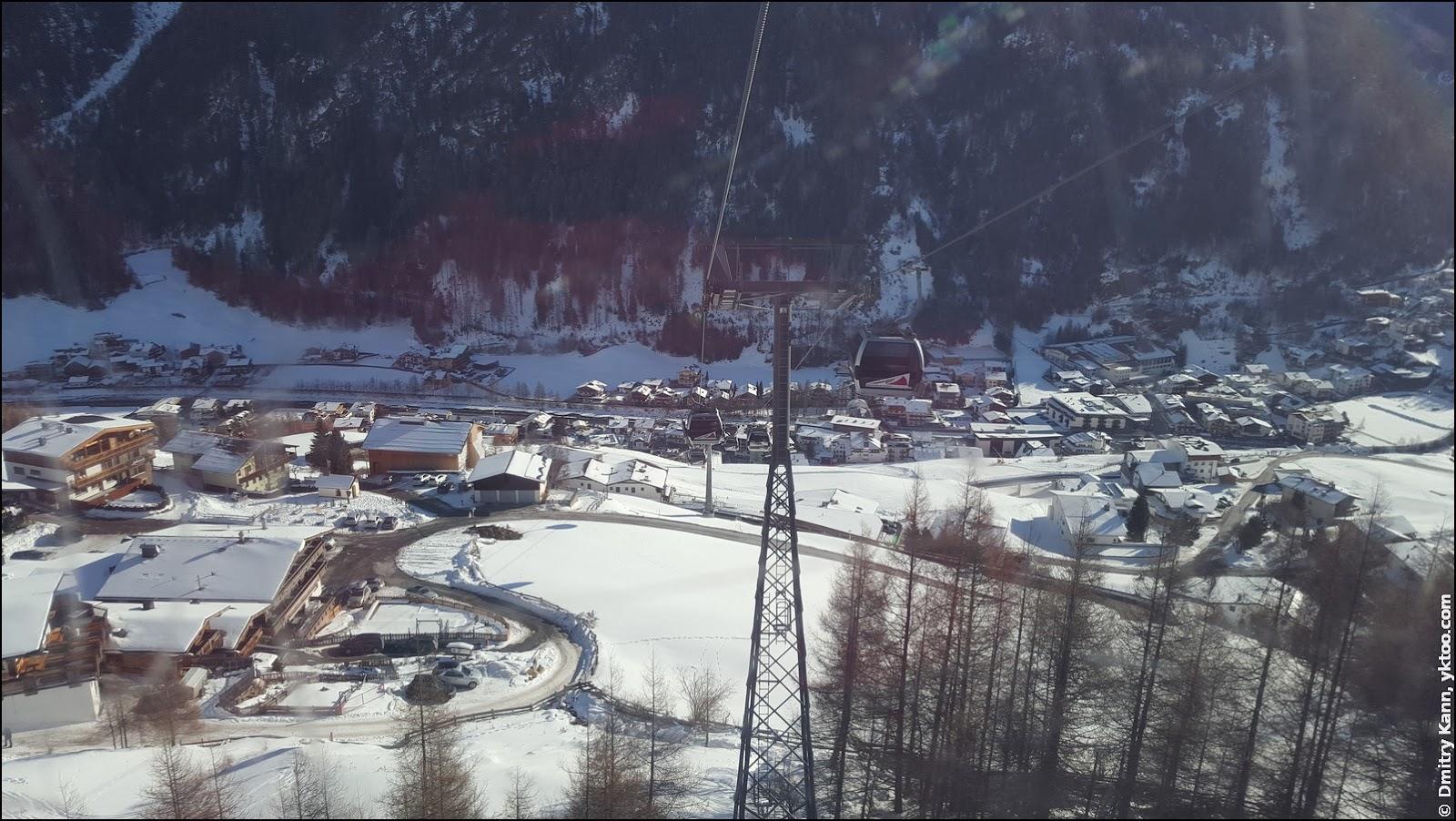 Вид на Зёльден из подъёмника канатной дороги.