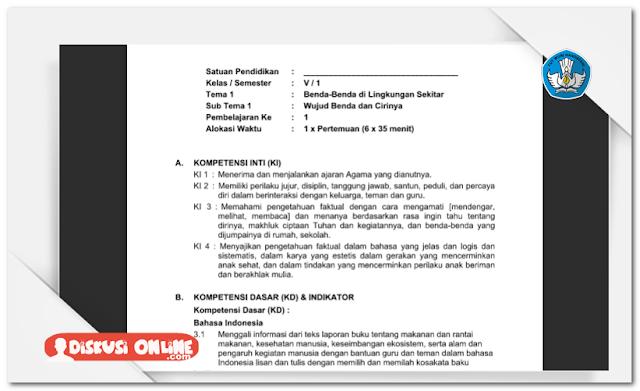 RPP SD Kurikulum 2013 SD/MI Kelas 5 Lengkap