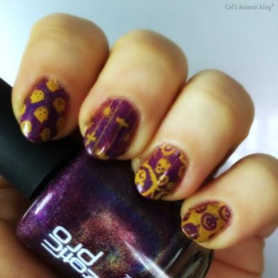 purple orange nails