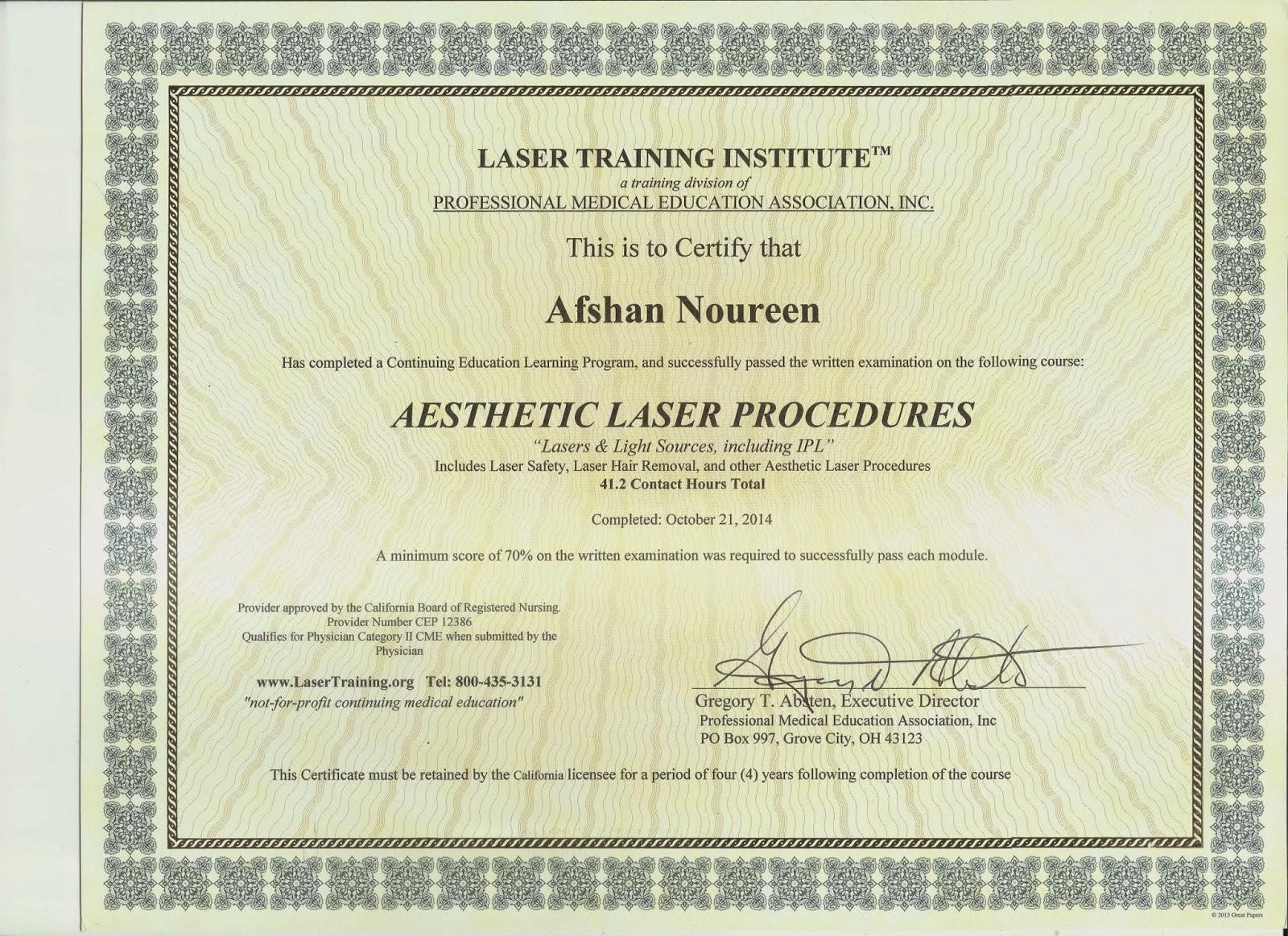 Laser Hair Removal Mrs Afshan Noureen American