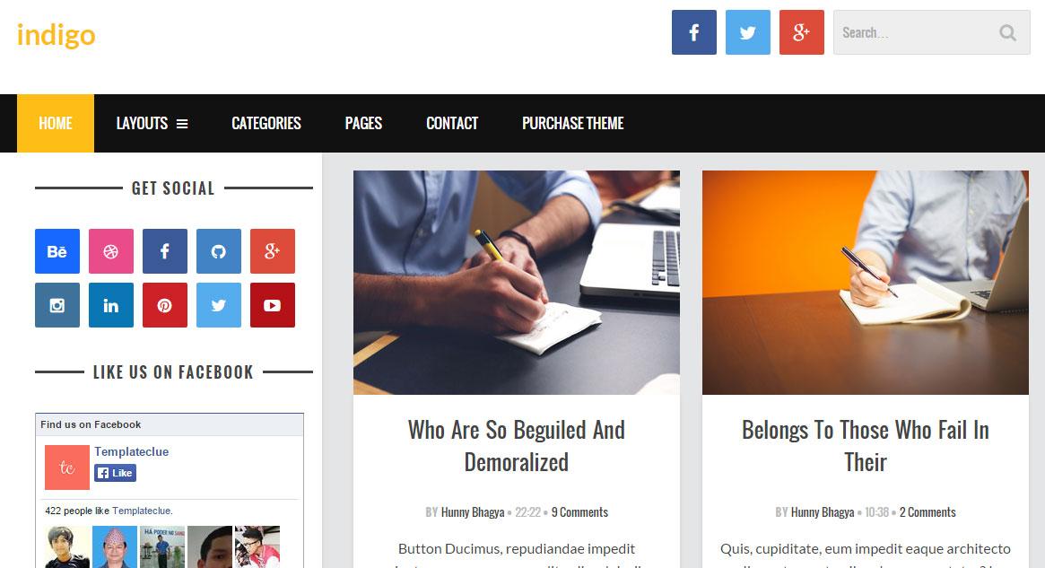 Indigo Responsive Blogger Template