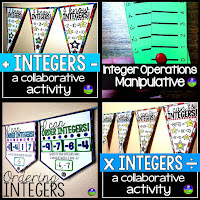 integers mini bundle for adding, subtracting, multiplying, dividing, ordering integers