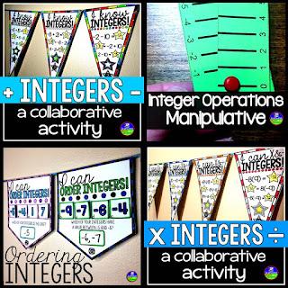 integers mini bundle for adding, subtracting, multiplying, dividing, ordering integers
