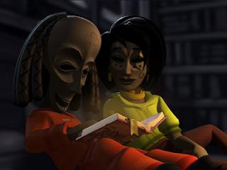 Bwana y Lina leyendo.
