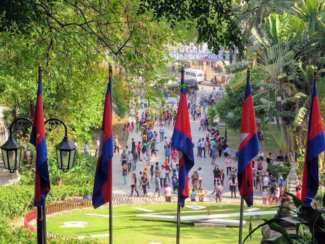 View from Wat Phnom temple during Khmer New Year in Phnom Penh Cambodia
