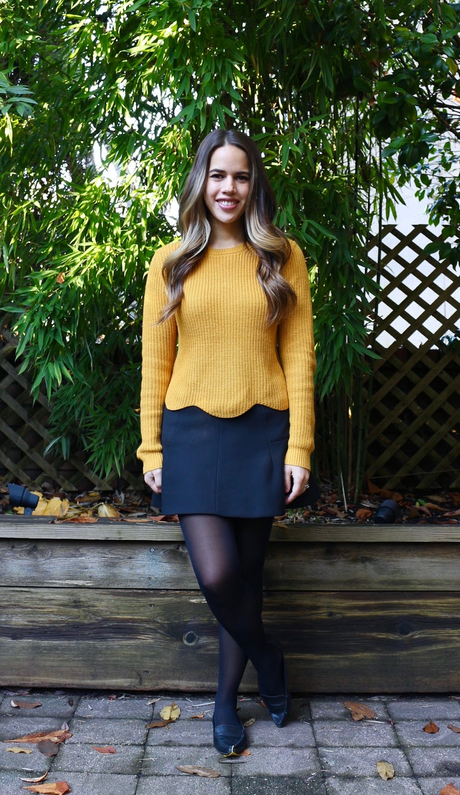 Jules in Flats - Yellow Scalloped Sweater with Skater Skirt (Business Casual Fall Workwear on a Budget)