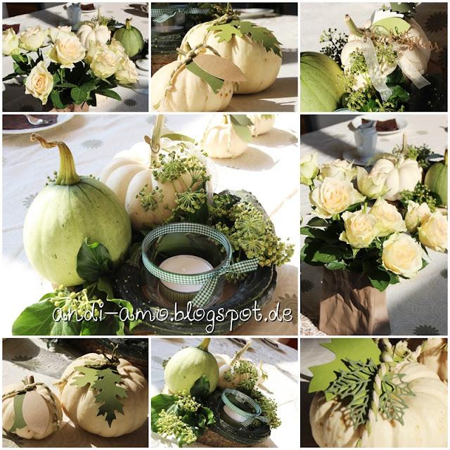 Herbstliche Tisch-Deko in Grün und Weiß