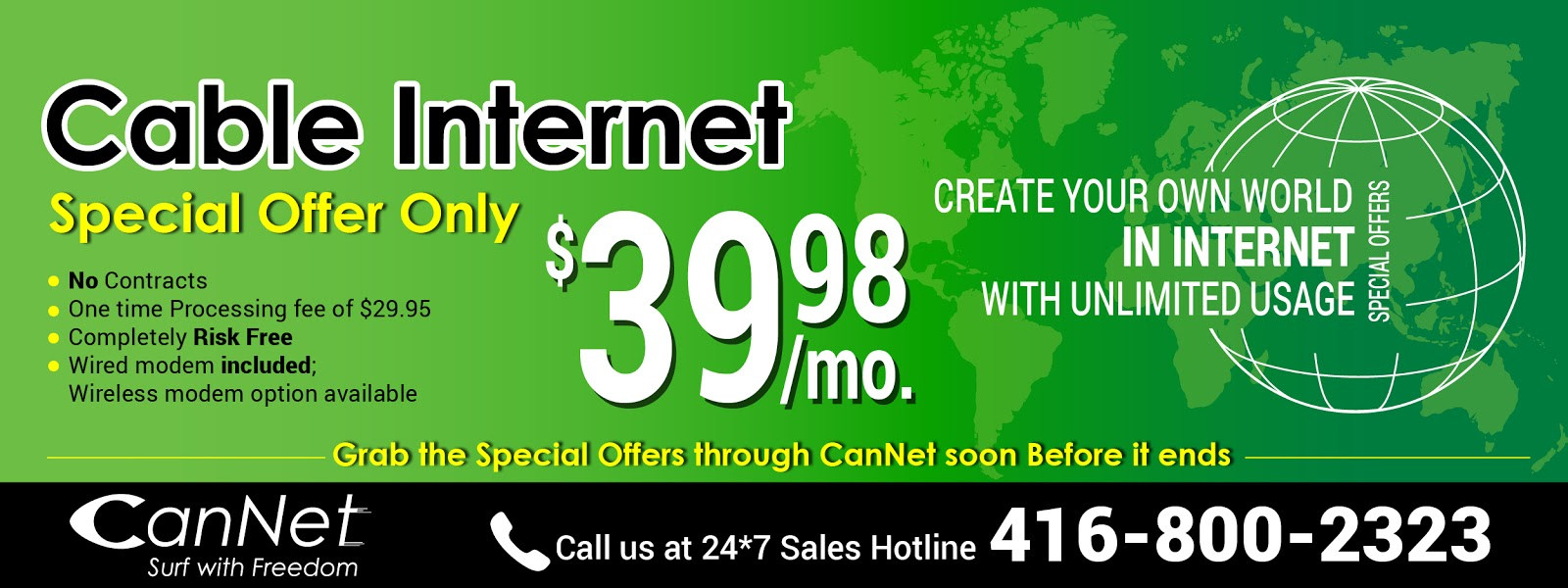 CanNet Telecom Blog: 100M Unlimited High-Speed Cable