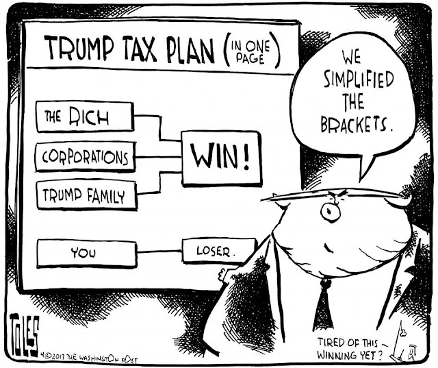 Donald Trump in front of his proposed tax brackets saying,