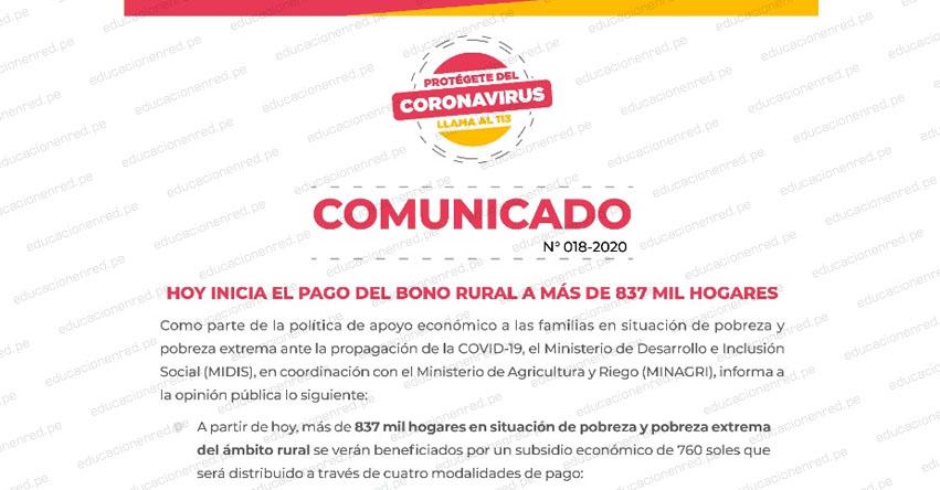MIDIS: Comunicado Bono Rural S/ 760