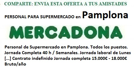 Pamplona, Navarra. Lanzadera de Empleo Virtual. Ofertas Mercadona