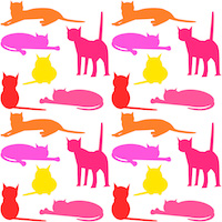 colorful cat silhouettes