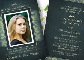 teal & gold floral ladies memorial service invitation