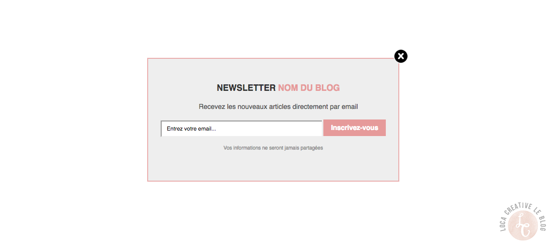 pop up newsletter blogger