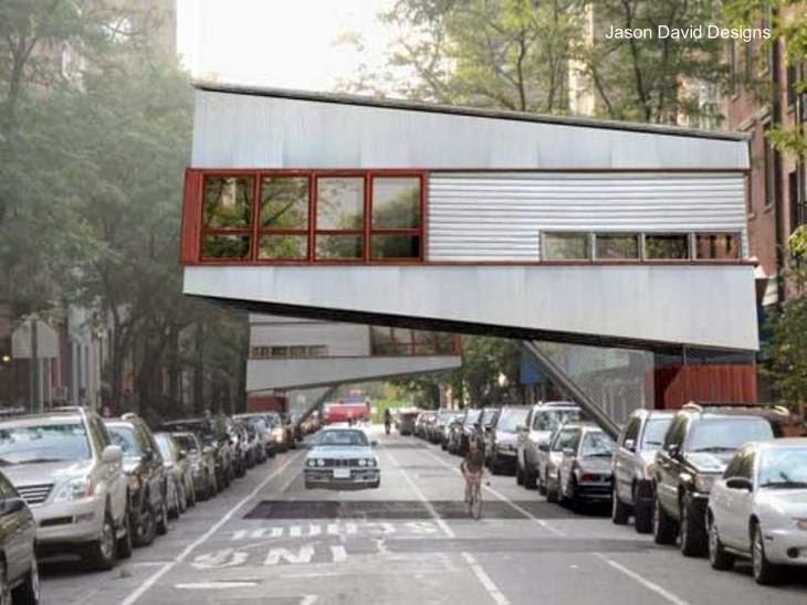 Casa árbol urbana en Nueva York renderizado de un proyecto
